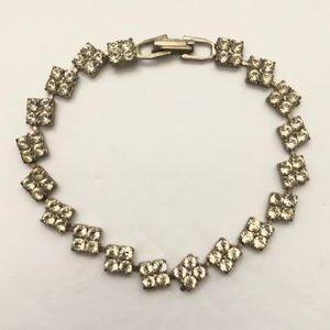 Clear Rhinestone Square Prong Set Silver Bracelet